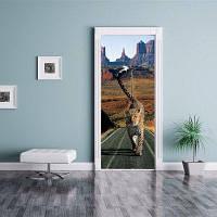 DSU Дорога Бегущий Леопард Строительство Дверные наклейки Декоративные наклейки стены 77 x 200cм