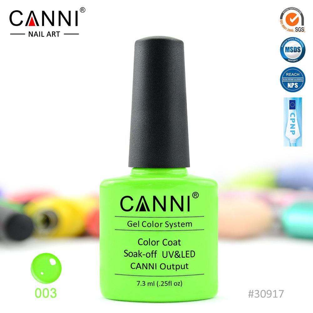 Гель-лак Canni 3 неоновый салатовый 7.3ml