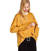 Женская мода Круглый воротник Loose Ruffle Cuffs Split Sweatshirt