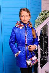 """Красивая весенняя куртка для девочки """"Букет"""" (электрик)"""