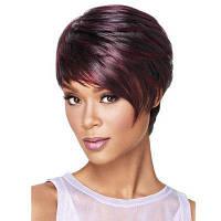 Женская мода Роза Сеть Прямой парик волос короткие парики Бордовый цвет