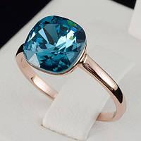 Видное кольцо с кристаллами Swarovski, покрытое слоями золота 0707, фото 1