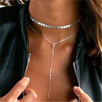 Элегантная дама бриллиантовое ожерелье с двойной подвеской Золотистый