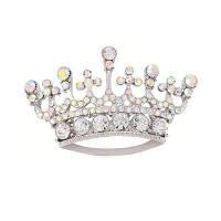 Серебряный цвет Мода Rhinestone Кристалл Crown Brooches Pin Корсаж для женщины Серебристый
