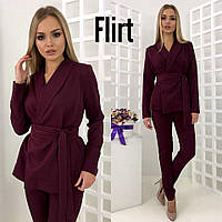 Костюм женский стильный пиджак с поясом и брюки креп-костюмка разные цвета DfL781