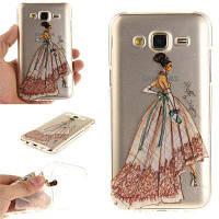 Ручная роспись Платье Soft Clear IMD TPU Корпус для телефона Мобильный смартфон Чехол для Samsung J5 2015 цвет