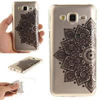 Black Half Flower Soft Clear IMD TPU Корпус для телефона Мобильный смартфон Чехол для Samsung J5 2015 Чёрный