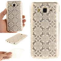 Белый кружевной мягкий прозрачный корпус IMD TPU для мобильного телефона Мобильный смартфон Чехол для корпуса Samsung J5 2015 Белый