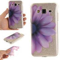 Половина цветка мягкая прозрачная IMD TPU корпус телефона Мобильный смартфон Cover Shell чехол для Samsung J3 J310 Фиолетовый