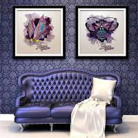Специальная конструкция Каркасные картины Красочная бабочка Печать 2PCS 24 x 24дюймов (60cм x 60cм)