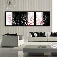 Специальная конструкция Каркасные картины Красное и белое дерево Печать 3PCS 12 x 12 дюйма (30cм x 30cм)