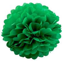 Помпон из тишью. Цвет: Зелёный. Размер: 20см.