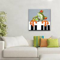 YHHP Ручная роспись животного маслом Картина маслом лягушка играет фортепиано 60 x 60 см