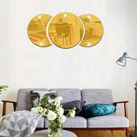 Водонепроницаемый акриловый Diy Mirror Art Vinyl Съемные настенные наклейки Золотой