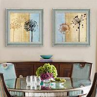 Специальная конструкция Каркасные картины Дерево цветения Печать 2PCS 16 x 16 дюймов (40cм x 40cм)