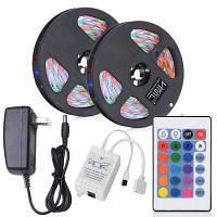 HML 2шт x 5м 24Вт RGB 2835 SMD 300 светодиодов водонепроницаемая светодиодная полоса с ИК-24-клавишным пультом дистанционного управления+DC-адаптером