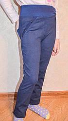 Качественные детские лосины с декором синего цвета. Размеры: 122-146