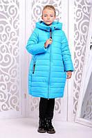 Стильное зимнее пальто  для девочки Ангелика голубое 34р