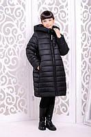 Стильное зимнее пальто  для девочки Ангелика черный 32,34,36,38р