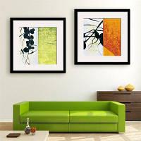 Специальная конструкция Каркасные картины Salix leaf Печать 2PCS 12 x 12 дюйма (30cм x 30cм)