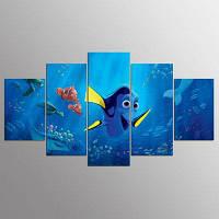 YSDAFEN 5 штук мультфильм рыбы в декорации детской комнаты морского дна для гостиной 30x40cмx2+30x60cмx2+30x80cмx1 (12x16дюймовx2+12x24дюйм