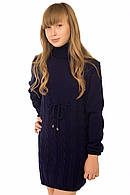 Вязаное платье для девочки темно-синий