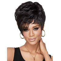 Женская мода Кудрявые парики для волос Синтетический короткий парик Чёрный