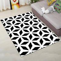 Домашний коврик Современный простой черно-белый прямоугольный мат 40x60см