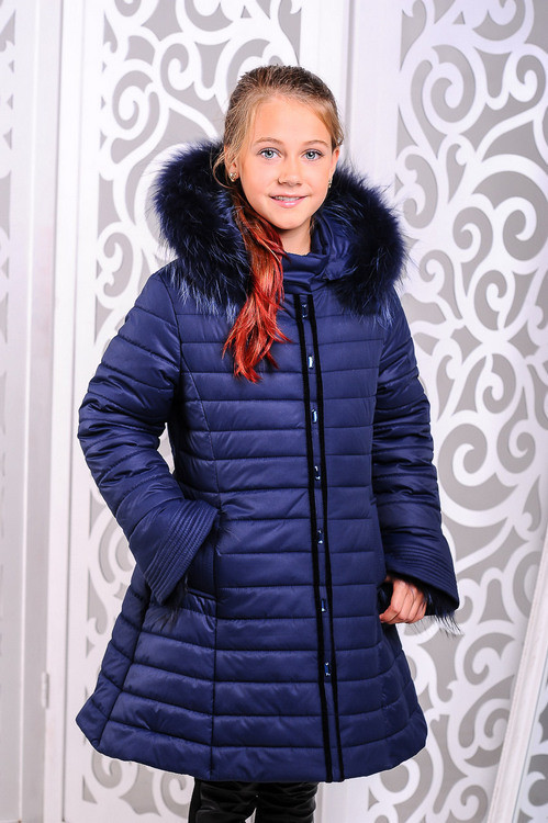 Красивая зимняя  куртка для девочки Маргарита джинс. 32,34,36р