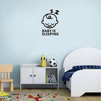 Kid-5 Симпатичный ребенок Спящий виниловый наклейщик стены для детской комнаты Спальня Home Decor 12.2 x 8.4cм