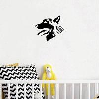 Собака-59 Собака голова виниловые наклейки стены Креативные мультфильм животных силуэт стены наклейки 15x13cм