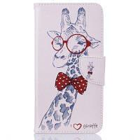 Giraffe Pattern Роскошный стиль PU кожаный чехол для мобильного телефона флип-обложка для iPhone 6 / 6s Белый