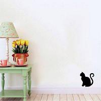 Cat-59 Сидящая виниловая наклейка на стене Мультфильм Cat Silhouette Animal Decal 15x15cm