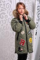 Зимняя  куртка для девочки  Мария хаки