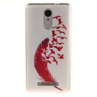 Красный перо мягкий прозрачный IMD TPU корпус телефона Мобильный смартфон Обложка Корпус для Xiaomi Redmi Примечание 3 Красный