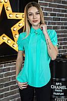 Нежная шифоновая блузка с коротким рукавом Код:521305977
