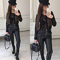 Женские кожаные брюки-лосины с карманами Хит продаж! 5 цветов