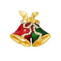 Рождественские подарки Булавки и броши для женщин Малый колокол Сердце Rhinestone Брошь Золотой