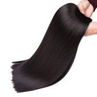 Длинные прямые термостойкие синтетические волосы Чёрный