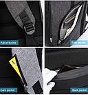 Рюкзак для ноутбука  с USB портом серый, фото 10