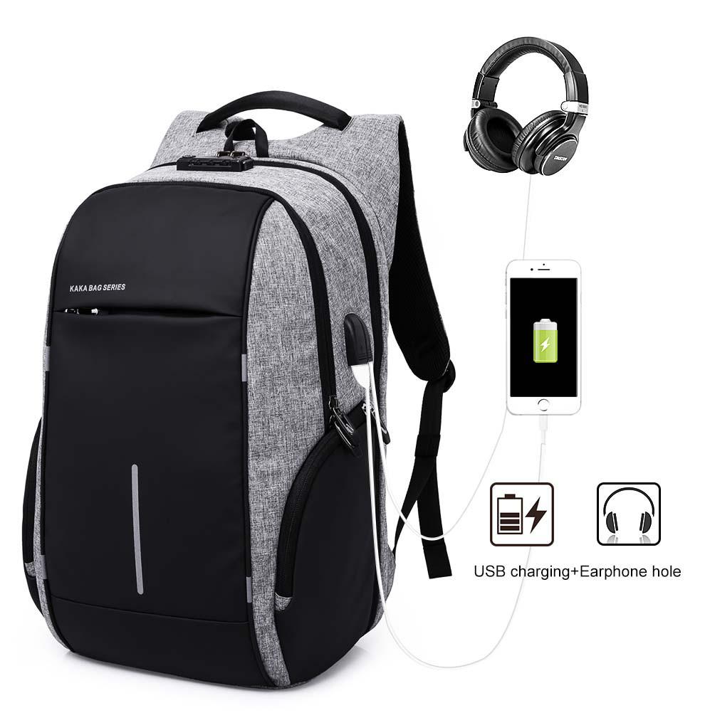 Рюкзак для ноутбука  с USB портом серый