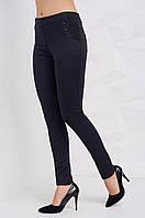 Молодежные черные брюки с резинкой на поясе и узором полоска