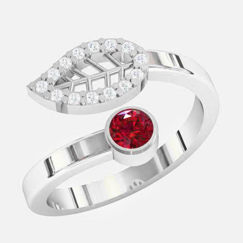 Кольцо  женское серебряное Листок KE-1477