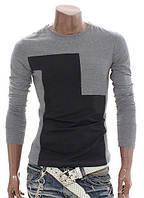 Мужская серая футболка с длинным рукавом