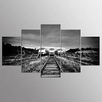 YSDAFEN 5 шт. Декоративные настенные декорации для поездов Современные HD-картины Vintage Retro Canvas Print 30x40cмx2+30x60cмx2+30x80cмx1