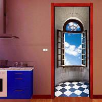ZB05 3D Creative Ретро-моделирование Лифт Коридор Украшение Гостиная ПВХ дверной стикер 77 X 200 см
