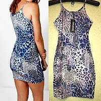 Короткое Платье для Девушки Синее Леопардовое, Boohoo оригинал, размер S/M