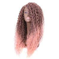 Rebecca синтетический кружевной части Ombre длинный афро кудрявый кудрявый парик шнурка 26 дюймов RC0611 26дюймов