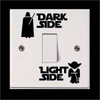 Dark Side Light Side Quote Switch Наклейка Световая стикер Свечение в темных наклейках для детей 7 x 28 cм