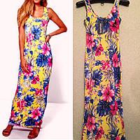 Платье Длинное Желтое Яркое с Цветами Boohoo оригинал, Размер S/M
